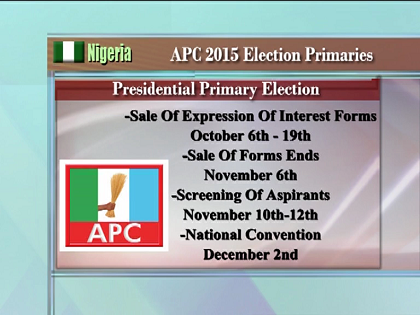 APC Fixed Dec 2nd 2014 For its National Convention To Elect its Presidential Candidate
