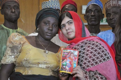 Nobel Peace Prize Laureate, Malala Yousafzai, with one of the escaped Chibok Girls