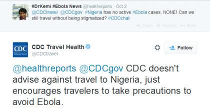 CDC tweet in response to Nigeria travel ban enquiry