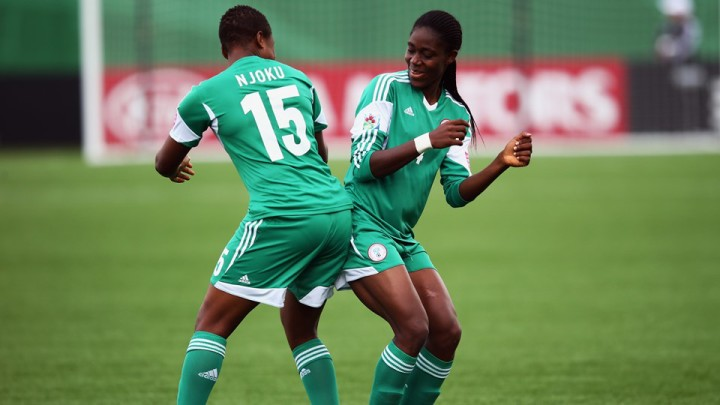 Oshoala Asisat celebrating with Njoku at the women U-20 world cup(GettyImages)