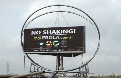 A billboard that raises awareness and fight against Ebola is seen in Lagos. Nigeria(Photo: REUTERS/Akintunde Akinleye )