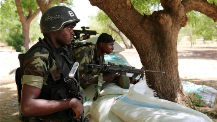 Cameroonian Soldiers in Position at a border town with Nigeria