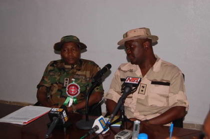 Lt. Col Wande at a Press Conference in Maiduguri, Borno State
