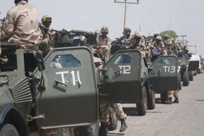 A unit of the Nigerian army on the Road to Mubi, following town's over run by Boko Haram Militants