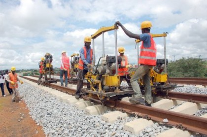 Construction workers of CCECC working of the Standard Guage Rail Network connecting Abuja to Kaduna. Trains on this route will be capable of 150km/hr, capable of reaching Kaduna before any vehicle