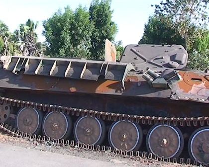 Tank belonging to members of the Boko Haram sect, destroyed in the fight to retake Mubi