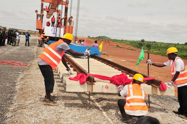 Construction workers of CCECC working of the Standard Guage Rail Network connecting Abuja to Kaduna.