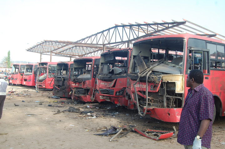 Scene at Nyanya Motor Park, Abuja, FCT following  Twin Bomb Blast which saw the death of scores of People