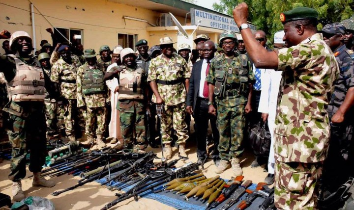 Pres Goodluck Jonathan with the Nigerian Troops in Baga, a Nigeria-Chad Border town