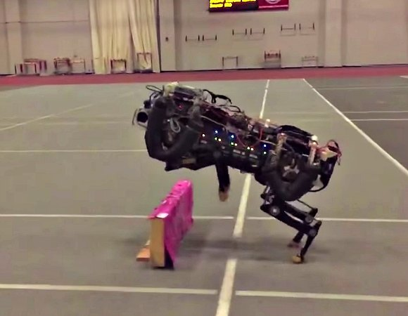 MIT researchers have trained their robotic cheetah to see and jump over hurdles as it runs — making this the first four-legged robot to run and jump over obstacles autonomously. Image Credit: Haewon Park, Patrick Wensing, and Sangbae Kim (www.mit.edu)