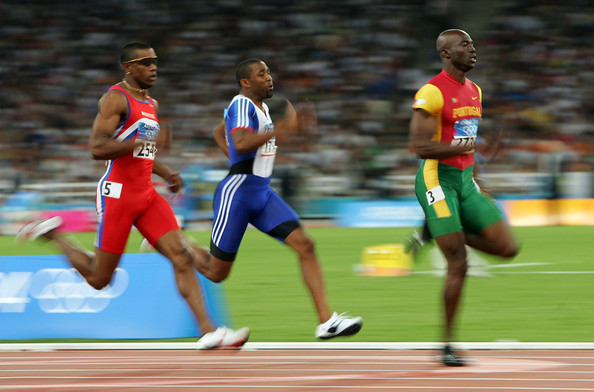 Francis Obikwelu competing for Portugal in the men's 200 metre event on August 24, 2004 during the Athens 2004 Summer Olympic Games