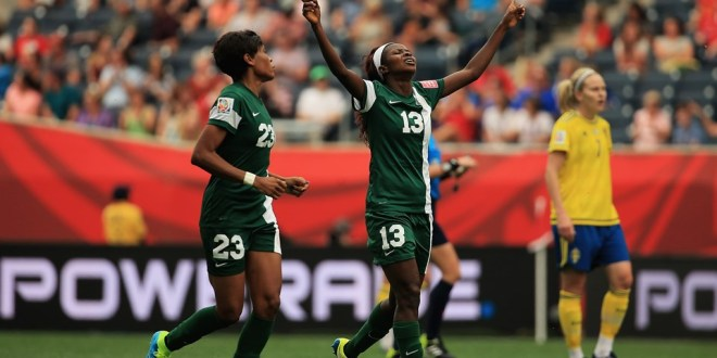 Ngozi Okobi in the match with Sweden(rank 5)helped Nigeria(ranked 33) score more goals Monday than in its previous nine Women's World Cup games combined (two)