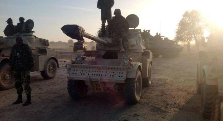 Chad forces with Panhard AML 90 armoured vehicles Battling Boko Haram fighters in Lake Chad region(PHOTO: AFP)