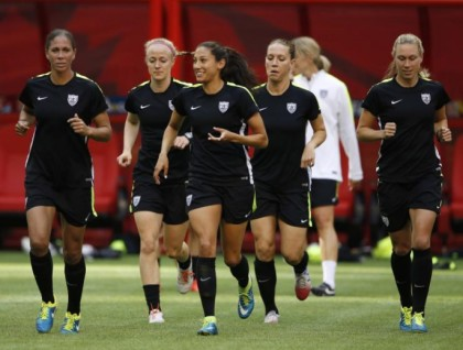 The United States national women's football team during practice
