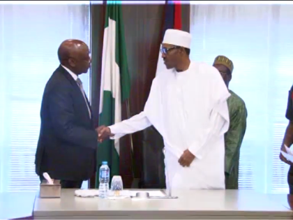 (l-R) President AFDB. Mr Donald Kaberuka, And President Buhari.