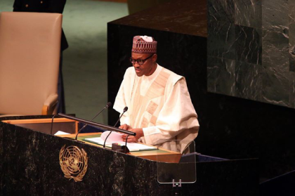 President Mahammadu Buhari at UN 70th Session General Assembly (Photo: @GarShehu)