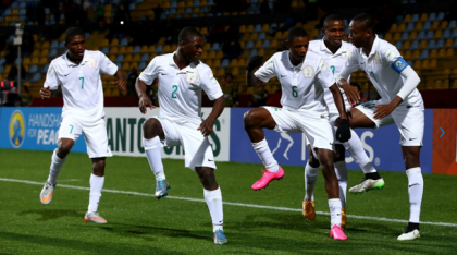 Golden Eaglets of Nigeria celebrating a goal scored against Australia at the round of 16 of the FIFA U-17 World Cup 2015