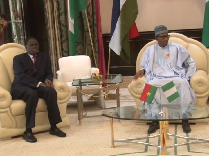 President Muhammadu Buhari and Prime Minister of Burkina Faso Mr Michel Kafando during the visit.
