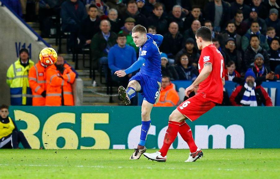 Jamie Vardy against Liverpool