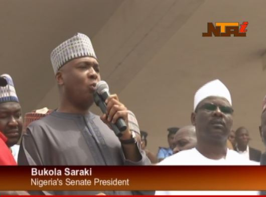 Senate President addressing the NLC protesters