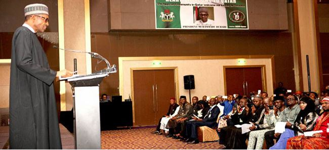 President Buhari in a meeting with Nigerian community in Doha