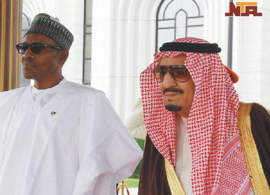 (L-R) President Muhammadu Buhari with King Salman Bin AbdulAziz Al Saud
