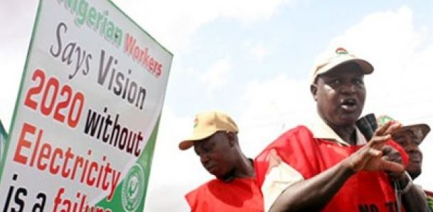 NLC protesting Hike Tariff in the Electricity Bill in Abuja.