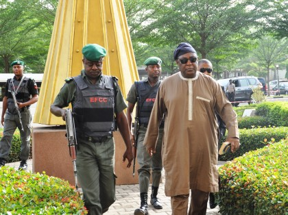 Alex Badeh on his way to court