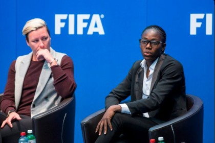 Asisat Oshoala in a FIFA conference on Developing Women Football