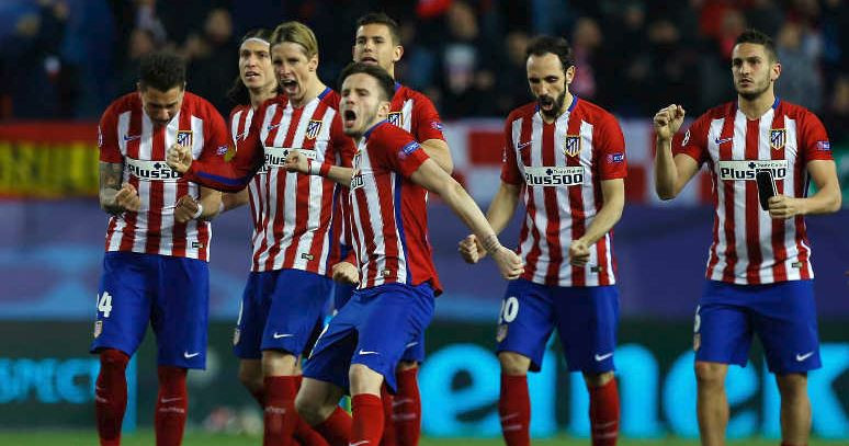 UEFA Champions League: Athletico Madrid Celebrating after long penalty shoot-out