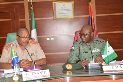 General Gabriel Olonisaki with the visiting Chief of South African National Defence Force, General Zakaria Shoke  at the Defence Headquarters Abuja
