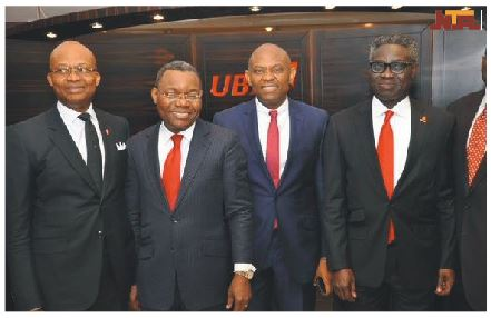 Newly appointed GMD Kennedy Uzoka & DMD Victor Osadolor with @TonyOElumelu & Phillips Oduoza after the announcement, Monday.