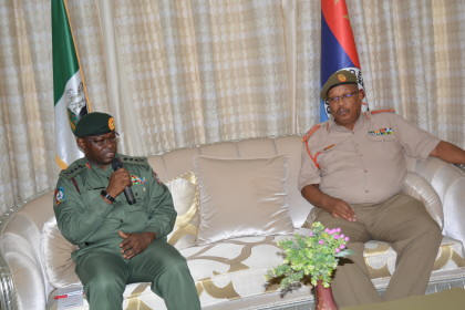 Nigeria's Chief of Defence Staff, General Olonisakin and Chief of South African National Defence Force, General Shoke exchanging some views