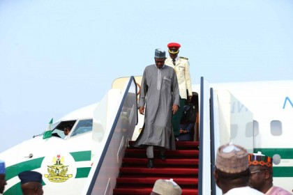 President Buhari Arrived from Qatar3