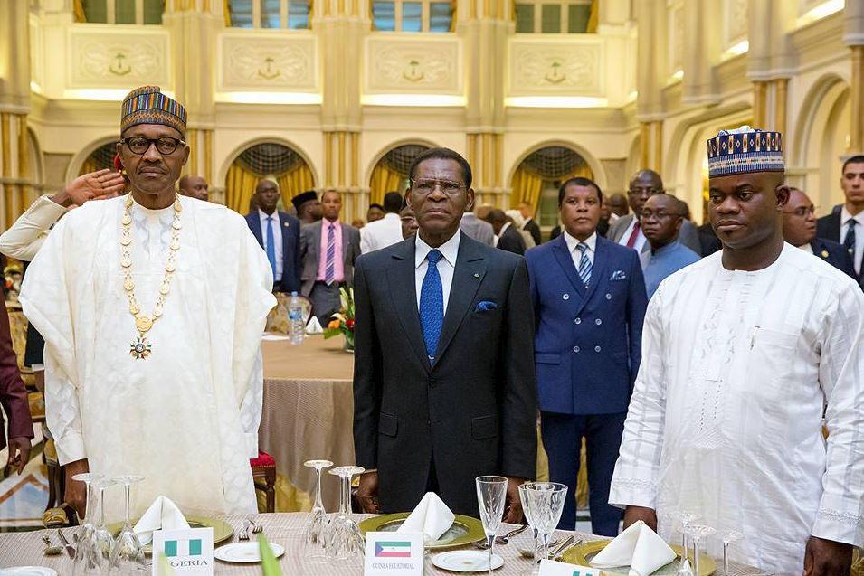 (L-R) President Buhari, President, Governor Yahaya Bello (Kogi)