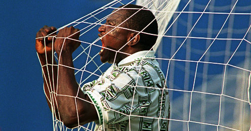 Rashidi Yekini, after scoring Nigeria's first goal at the world cup. Image: GETTY