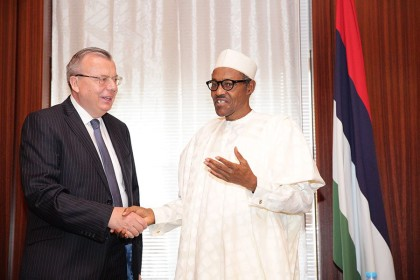 President Buhari with Mr Yury Fedetov Executive Director of United Nations Office for Drugs and Crime (UNODC)