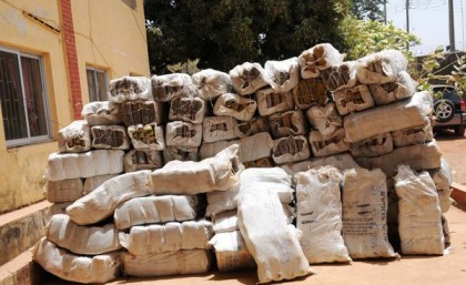PIC 10. BAGS CONTAINING 1,489KG TONNES OF SUBSTANCES SUSPECTED TO BE CANNABIS SATIVA EMPOUNDED  BY THE PLATEAU STATE COMMAND OF NATIONAL DRUG LAW ENFORCEMENT AGENCY (NDLEA) IN JOS ON  WEDNESDAY (21/3/12)