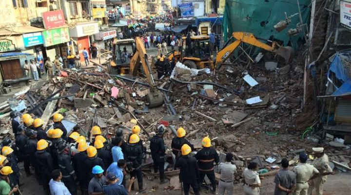 Mumbai: Five people have been rescued and some are still feared trapped under the debris in R S Nimkar Marg. Source: Express photo