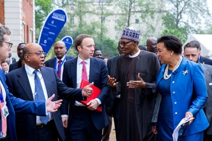 President Buhari in London during the CommonWealth Meeting on Stolen Funds Recovery(PHOTO: JordanISOA)