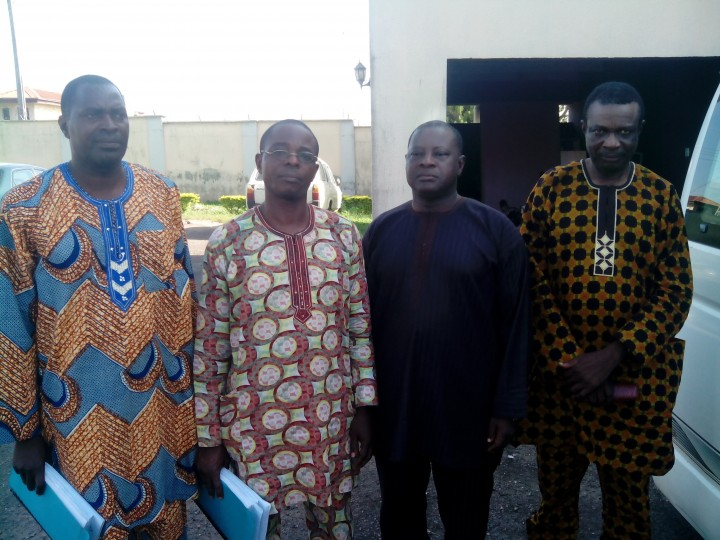 Photo: From right, Prof. Benjamin Ogunbodede. Jalekun Omitowoju. Zacceaus Tejumola and Adenose Clement, when they were arraigned on October 30, 2014.