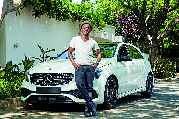 Nathi Mankayi with his New Mercedes-Benz