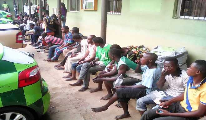 Street Hawking Suspects, arrested by members of KAI Lagos State(PHOTO: DailyTrust)