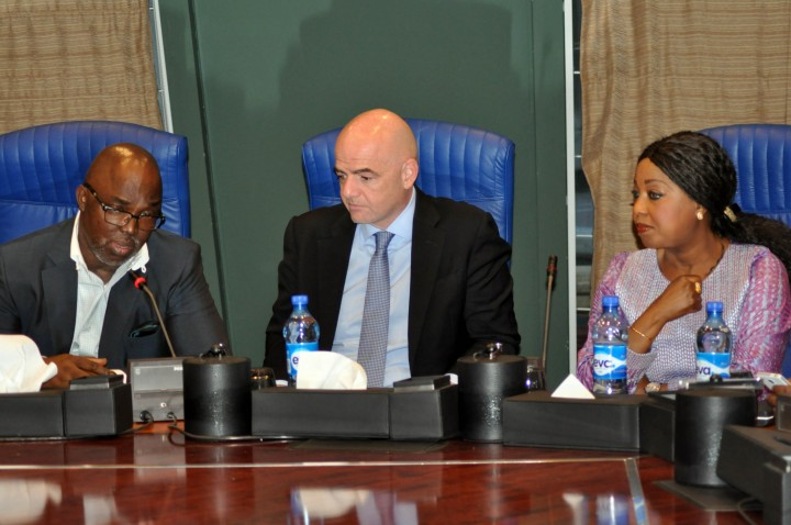 FIFA President, Infatino with Amaju Pinnick during his visit to Nigeria