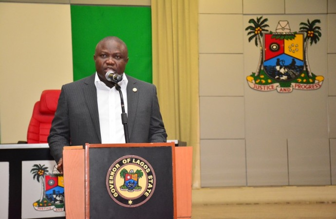 Governor Akinwunmi Ambode addressing the Press in Lagos(PHOTO: LASG)