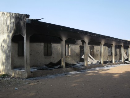 Burnt out school block following a gun battle and explosions by the Boko Haram sect in Potiskum, Nigeria, Saturday, Oct. 20 , 2012. A Chinese construction worker has been killed in a besieged city in Nigeria's northeast, an official said Friday, exacerbating security concerns for foreign workers in Nigeria's violence-wracked northeast, while an overnight raid in a nearby city left 5 others dead and several schools razed to the ground. (AP/Photo Adamu Adamu)