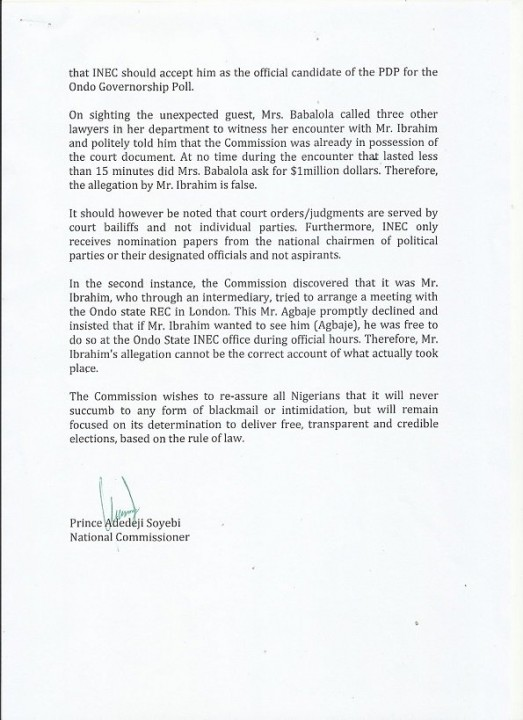 INEC Response To Jimoh Ibrahim(Part B)