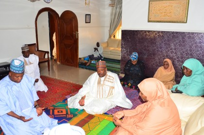 Picture caption: Borno Governor Kashim Shettima offering prayers during condolence on family of the late Sultan Ibrahim Dasuki at the family's Miyetti Allah residence in Kaduna on Saturday.