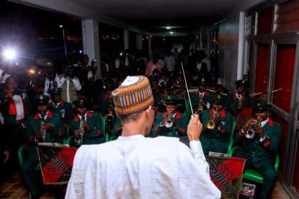 President Buhari Attends Guards Brigade Dinner Night At Scorpion Mess