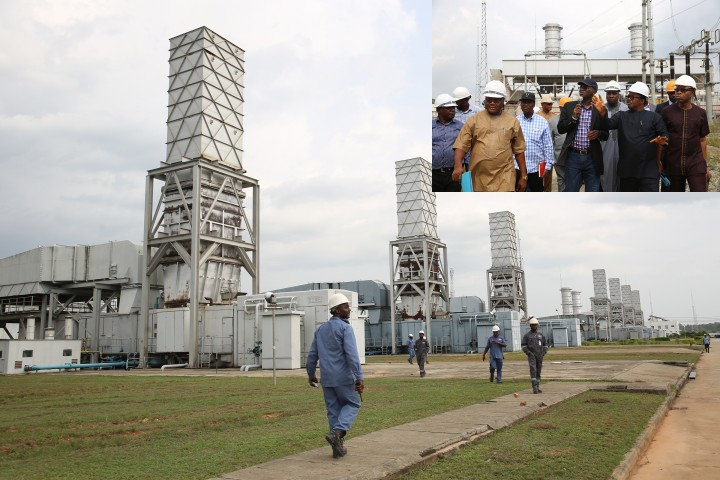 A cross section of the Omotosho Electric Energy Generation Company's Six Gas Turbines.INSET:Hon. Minister of Power, Works & Housing, Mr Babatunde Fashola, SAN (left) being conducted round by the Managing Director,Niger Delta Power Holding Company Limited(NDPHC), Mr Chiedu Ugbo(middle) and General Manager, Generation, Niger Delta Power Holding Company Limited(NDPHC),Mr Foluso Akarakiri (right) during the Hon.Minister 's inspection tour of the Omotosho Electric Energy Company Limited's Generation Plant in Okitipupa, Ondo State on Day One of his inspection tour of Highway Projects in the South West Zone on Thursday 23,March 2017.